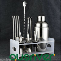 13PCS Stainless Steel 350/550ML Cocktail Shaker Jigger Ice Tong Straw+Rack Bar