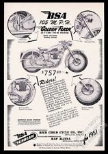 1951 BSA Golden Flash 650 motorcycle photo vintage print ad