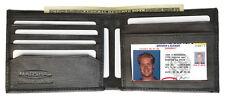 BLACK GENUINE LEATHER MEN'S FLAT PLAIN HOLDER BIFOLD WALLET FRONT POCKET CARD 6+
