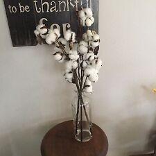 COTTON STEM Bouquet in GLASS VASE Wreath Farmhouse Rustic Door Home Decor