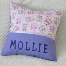 CHILDS /GIRLS / BABY PERSONALISED CUSHION COVER/NURSERY/GIFT - OWLS & DAISIES