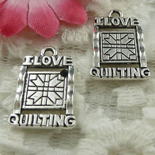 free ship 50 pieces Antique silver i love quilting charms 21x14mm #1928