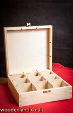 WOODEN TEA BOX 9 / UNPAINTED NEW WOODEN TEA BOX 9 SECTIONS / ART CRAFT DECOUPAGE