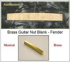 """AxeMasters UNSLOTTED BRASS 1/8"""" NUT BLANK made for Fender Guitar FREE SHIP"""