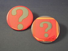 ? Question Mark Lot of 2 Buttons pin punk badge pinback Store Resale punctuation