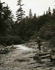 Vintage Trout Fishing Boy In Stream Old Fish Creel Knickers & Cap 1920 PERFECT