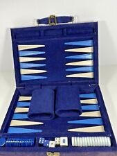 Vintage Cardinal Backgammon Set Travel Case Complete Corduroy Blue