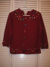 WOMEN'S MANDAL BAY MAROON SWEATER DECORATED W/BUTTONS,3/4 LENGTH SLEEVES, SZ MED