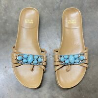 Stuart Weitzman Women's Size 8 Cognac Leather Turquoise Jewel Sandals