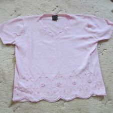 AVANT GARDE LIGHT PINK VISCOSE TOP SIZE L 14-16 LOVELY FLORAL DETAIL EXC COND