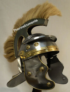Medieval Historical Armor  Roman  Helmet Adult Size  With White Plume