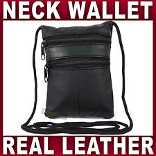 LEATHER SECURITY NECK POUCH Holder Travel Passport money bag under clothes safe
