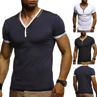 Men's Slim Fit V Neck Short Sleeve T-Shirt Muscle Tee Casual Tops Henley Shirts