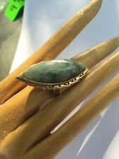 R4 antique JADEITE RING natural un-treated GREEN/WHIT size 6 sterling/14k c.1900
