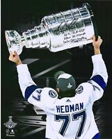 Victor Hedman Lightning 2020 Champs Signed 16x20 Spotlight Photo & Inscs - LE 20