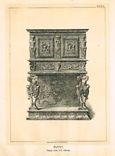 Art Furniture  c1880   BUFFET, FRENCH WORK  XVI CENT  Antique Duotone Lithograph