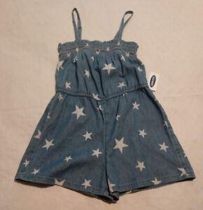 NWT Old Navy Denim Star Print Smocked Sleeveless Romper XS 5 Girls