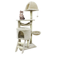 56 inch Cat Tree Sisal Scratcher Condo Post Pet Tower Kitty Play House,White