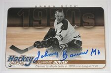 JOHNNY BOWER SIGNED 11-12 UD HOCKEY HEROES 1950s MAPLE LEAFS CARD AUTOGRAPH AUTO