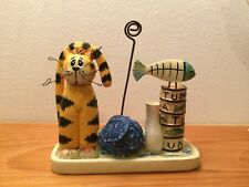 Picture Holder ~ Small Yellow Cat, Ball of Yarn, Milk Bottle, Can of Tuna & Fish