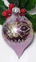 Vintage Christmas Ornament Mercury Glass PURPLE Silver Glitter Teardrop