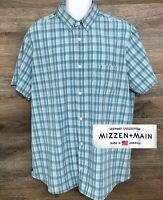 Mizzen+Main Mens Trim Fit Leeward Green Plaid Short Sleeve Button Down Shirt XXL