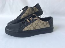 NIB GUCCI BLACK LEATHER  GG GUCCISSIMA CANVAS LACE UP  Marked 8.5 10 - 10.5 $465