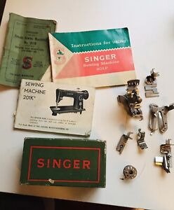 SINGER SEWING MACHINE No. 201k INSTRUCTIONS BOOKLET & ACCESSORIES ATTACHMENTS