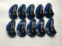 10PCS Golf Iron Headcovers for Cobra King F9 Club Covers Caps Velco Blue&Black