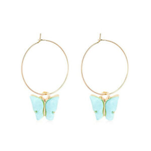 Fashion Gold Lake Blue Crystal Cute Butterfly Round Drop Earrings Jewelry