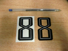 2x GUY MARTIN race number 8 - Black & White Stickers / Decals  - 65mm