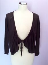 BNWT HOBBS DARK BROWN TWO WAY COTTON CARDIGAN SIZE XL RRP £49