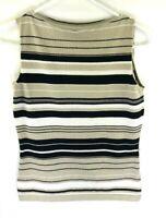 Ann Taylor LOFT Womens S Striped Sleeveless Blouse Tank Top Rayon/Nylon Knit