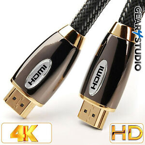 1m HDMI CABLE 2.0 HIGH SPEED GOLD PLATED BRAIDED LEAD 2160P 3D HDTV UHD 4K
