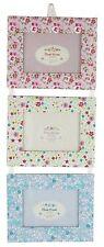 Vintage Floral Fabric Triple Hanging Photo Frame Set