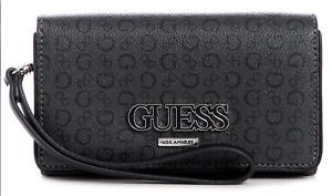 GUESS Wallet Phone Wristlet Clutch Purse Womens Black Grey Logo Conley NEW