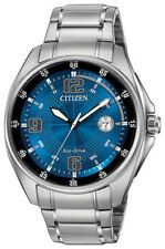 Citizen Eco-Drive Men's Blue Dial Silver-Tone Bracelet 42mm Watch AW1510-54L