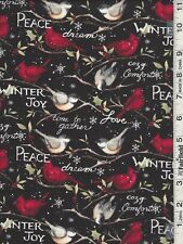 Black Red Christmas Winter Birds by Springs Creative bty