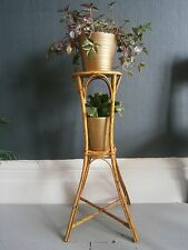 vintage retro mid century boho bamboo planter plant stand cane wicker two tier