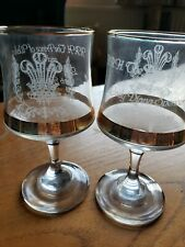 Vintage Royal Wedding Charles And Diana Pair Of Commemorative Glasses