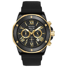Bulova Marine Star Men's 98B278 Quartz Gold-Tone Accents Black 44mm Watch