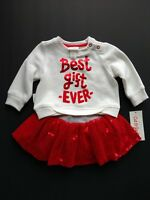 """New Baby Cat & Jack """"Best Gift Ever"""" Two Piece Girl 0-3 Mo. Red & White"""