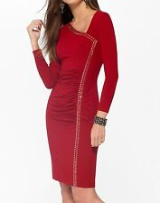 NWT CACHE Red Stretch STUDDED Ruched Evening Party Dress     XL  14