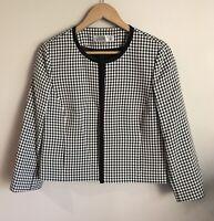 TAHARI ARTHUR S LEVINE Open Front Jacket Blazer Black White 3/4 Sleeve Size 8