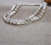 Pure S999 Sterling Silver Chain Dragon Head Column Bead Link Bracelet