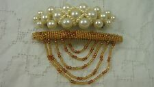 Set Of Faux Pearl And Gold Seed Bead Hair Ornament Barrettes