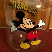 Vintage Disney Mickey Mouse Goodies Anchor Hocking Glass Jar Treat Candy 4198