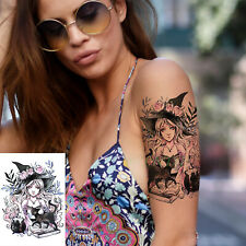 Temporäres Tattoo Dame Hexe Katze Muster Sexy Farbe Lady Girl Mädchen Altweiber