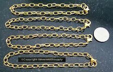 "4 pcs Gold plated  8"" cable link 7X5mm charm bracelet chains add charms pch051"