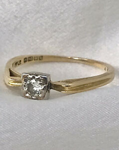 18ct Genuine Antique 1886 Engagement Ring Diamond Solitaire .10 ct size O 1/2
